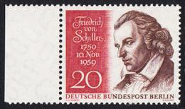 !a! BERLIN 1959 Mi. 190 MNH SINGLE W/ Left Margin -Friedrich Von Schiller - [5] Berlin