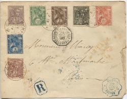 1896 Registered Letter From Harar To Paris. Marques La Reunion To Marseille Et Djibouti Postes. Meilleure Vue - Ethiopie