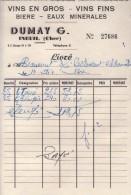 Facture -  Vins En Gros - Vins Fins - Bière - Eaux Minérales - DUMAY G. - INEUIL (cher) - France