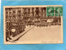 Guerre 14-18 Défilé En ALLEMAGNE-WIESBADEN-troupes Françaises D'occupation-oblitération TP 188 - Guerra 1914-18