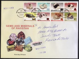 GEMS AND MINERALS Stones OF PAKISTAN 2014 Complete Set Of 8 Stamps On Big Cover First Day Used FDC Registered - Mineralen