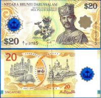 Brunei 20 Dua Puluh Ringgit Dollar 2007 Polymere Commemo Fleur Prefix A1 Polymer Flower Skrill Paypal Bitcoin OK - Brunei