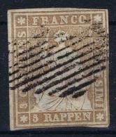 Switserland, 1854 Yv Nr 26 D Papier Mince Used - 1854-1862 Helvetia (Non Dentellati)