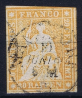 Switserland, 1854 Yv Nr 29  Used  Signed/ Signé/signiert/ Approvato BRUN - 1854-1862 Helvetia (Ungezähnt)