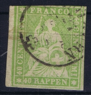 Switserland, 1854 Yv Nr 30 A Used - 1854-1862 Helvetia (Ungezähnt)