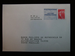 PAP REPONSE BEAUJARD BARON PHILIPPE DE ROTHSCHILD SA 11P489 - Entiers Postaux
