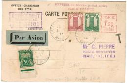 MAROCCO - MAROC - 1944 - Airmail - Par Avion - Reprise Du Service Postal Aérien Avec La France - EMA - Red Cancel + 1... - Aerei