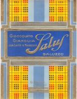 """0693 """"CIOCCOLATO GIANDUIA CON LATTE E NOCCIOLE - SALUZZO """" FABBRICA CIOCCOLATO SALUS.  INCARTO ORIGINALE. - Cioccolato"""