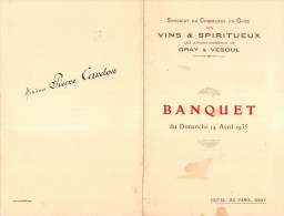 """0694 """"MENU"""" HOTEL DE PARIS GRAY - 1935. PERSONALIZZATO. SYNDACAT DU COMMERCE GRAY & VESOUL. ORIGINALE - Menu"""