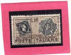ITALY REPUBLIC ITALIA REPUBBLICA 1951 FRANCOBOLLI SARDEGNA CENTENARIO FRANCOBOLLO SARDO LIRE 10 USATO USED OBLITERE´ - 6. 1946-.. República
