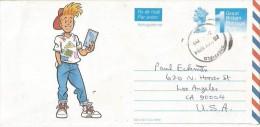 UK 1994 Sheffield Machin International Comic Illustrated Aerogramme Cover - Stamped Stationery, Airletters & Aerogrammes