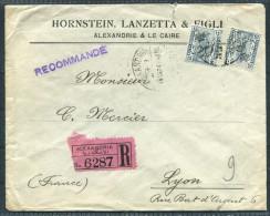 1924 Egypt Alexandria Hornstein, Lanzetta & Figli Registered Cover - Lyon France - Egypt