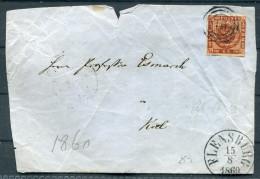 1860 Denmark 4sk Cover (FRONT Only) Flensburg - 1851-63 (Frederik VII)