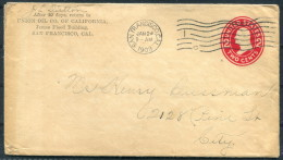 1908 USA San Francisco National Oil Company Of California Stationery Cover - United States