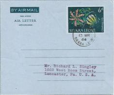 Sierra Leone 1964 Freetown Climbing Lily Air Letter Aerogramme - Sierra Leone (1961-...)