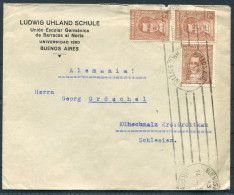 1938 Argentina Buenos Aires  Ludwig Uhland Schule Cover - Germany - Lettres & Documents