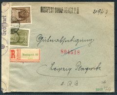 1941 Hungary Registered Budapest Censor Zensur Cover - Leipzig Germany - Briefe U. Dokumente