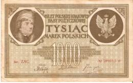 BILLETE DE POLONIA DE 1000 MAREK DEL AÑO 1919 SERIE ZAC CON ASTERISCO-STAR (BANKNOTE) - Poland
