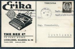 1937 Ljubljana The Rex Company Erika Typewritter Advertising Postcard - 1931-1941 Kingdom Of Yugoslavia