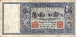 BILLETE DE ALEMANIA DE 100 MARK DEL AÑO 1908 SERIE A  (BANKNOTE) - [ 2] 1871-1918 : Empire Allemand