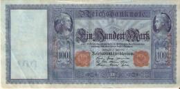 BILLETE DE ALEMANIA DE 100 MARK DEL AÑO 1910 SERIE F  (BANKNOTE) - [ 2] 1871-1918 : Imperio Alemán