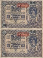 PAREJA CORRELATIVA DE AUSTRIA DE 1000 KRONEN  DEL AÑO 1902 CALIDAD EBC+++  (BANK NOTE) 2ª AUFLAGE - Austria
