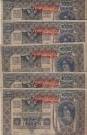 LOTE 5 BILLETES CORRELATIVOS DE AUSTRIA DE 1000 KRONEN  DEL AÑO 1902 CALIDAD EBC++ 57131 AL 57135 (BANK NOTE) 2ª AUFLAGE - Austria
