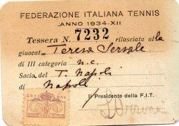 1934 TESSERA FEDERAZIONE ITALIANA TENNIS - Trading Cards
