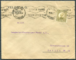 1922 Serbia Belgrade Beograd VELOX Cover - Berlin Germany - Serbia