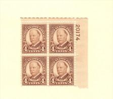 USA SC #685 MNH PB4  1930 Taft #20174, CV $20.00 - Plate Blocks & Sheetlets