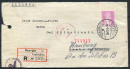 1940 Turkey Beyoglu Istanbul Registered Censor Cover Cambs Schwerin Hamburg Germany - 1921-... Republic
