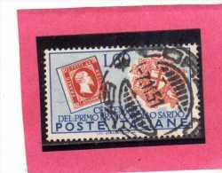 ITALY REPUBLIC ITALIA REPUBBLICA 1951 FRANCOBOLLI SARDEGNA CENTENARIO FRANCOBOLLO SARDO LIRE 60 USATO USED OBLITERE´ - 6. 1946-.. República