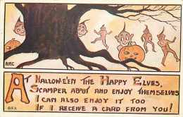 232143-Halloween, F.A. Owen No 852, Artist AMC, Elves Brownies Scampering Around A Tree Trunk - Halloween