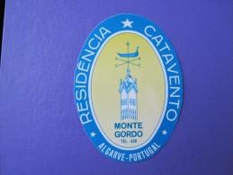 HOTEL PENSAO RESIDENCIA PENSION STALAGEM CATAVENTO MONTE GORDO ALGARVE DECAL LUGGAGE LABEL ETIQUETTE AUFKLEBER PORTUGAL - Hotel Labels
