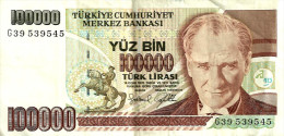 TURKEY 100.000 LIRASI BROWN MAN FRONT & CHILDREN BACK DATED LAW OF 1970 (1997) P20 AVF READ DESCRIPTION CAREFULLY!! !! - Turquie