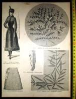 PLANCHE DE GRAVURE MODE 1890 COSTUME DE PATINEUSE DESSOUS LAMPE STATUETTE COIN EN TULLE - Vieux Papiers