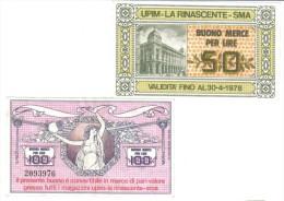 Upim La Rinascente Spa Buono Per Merce 50 + 100 Lire 30 04 1978 LOTTO 1100 - [ 2] 1946-… : Repubblica