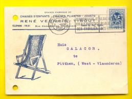 FABRIQUE VERMEIR-TIBOUT RUE KRONENBURG 94 Te ANTWERPEN - CHAISES JOUETS Gele Briefkaart Carte Jaune STOEL CHAISE 2028 - Antwerpen
