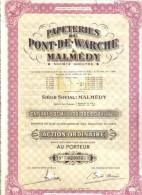 Papeteries Du Pont De Warche A Malmedy 19 Mars 1921 Action Ordinaire Cod.doc.057 - Azioni & Titoli