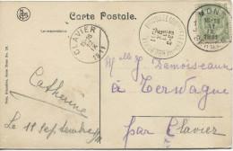 TP Amoiries S/CP De Mons Square St.Germain C.Mons En 1911+ambt BXL-Herbesthal V.Terwagne C.d'arrivée Clavier PR1486 - Ambulants