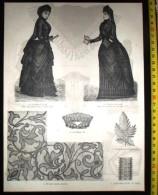 PLANCHE DE GRAVURE MODE 1890 TOILETTE DE DEUIL COL HENRI 2 II MOTIF BRODE AU PLUMETIS ENTRE-DEUX - Collections