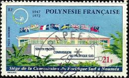 POLYNESIE FRANCAISE 25TH ANNIVERSARY OF SOUTH PACIFIC COMMISSION 21 FR STAMP ISSUED 1972 SG155 USEDn READ DESCRIPTION !! - Usados