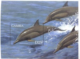 MINT NEVER HINGED SOUVENIR SHEET OF FISH-MARINE LIFE  #   222-4  ( GAMBIA    2163 - Peces