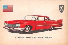 """02765 """"PLYMOUTH SAVOY CLUB SEDAN""""  CAR.  ORIGINAL TRADING CARD. """" AUTO INTERNATIONAL PARADE, SIDAM - TORINO"""". 1961 - Engine"""