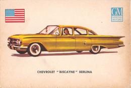 """02766 """"CHEVROLET BISCAYNE SEDAN""""  CAR.  ORIGINAL TRADING CARD. """" AUTO INTERNATIONAL PARADE, SIDAM - TORINO"""". 1961 - Engine"""