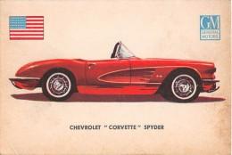 """02767 """"CHEVROLET CORVETTE SPYDER""""  CAR.  ORIGINAL TRADING CARD. """" AUTO INTERNATIONAL PARADE, SIDAM - TORINO"""". 1961 - Engine"""