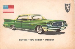 """02768 """"CHRYSLER NEW YORKER CABRIOLET""""  CAR.  ORIGINAL TRADING CARD. """" AUTO INTERNATIONAL PARADE, SIDAM - TORINO"""". 1961 - Engine"""