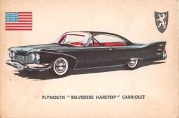 """02770 """"PLYMOUTH BELVEDERE HARDTOP CABR.""""  CAR.  ORIGINAL TRADING CARD. """" AUTO INTERNATIONAL PARADE, SIDAM - TORINO""""1961 - Engine"""