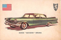 """02773 """"DODGE MATADOR SEDAN""""  CAR.  ORIGINAL TRADING CARD. """" AUTO INTERNATIONAL PARADE, SIDAM - TORINO""""1961 - Engine"""