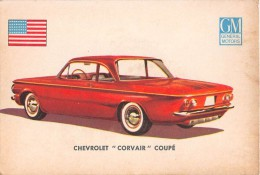 "02775 ""CHEVROLET CORVAIR COUPE´""  CAR.  ORIGINAL TRADING CARD. "" AUTO INTERNATIONAL PARADE, SIDAM - TORINO""1961 - Motori"